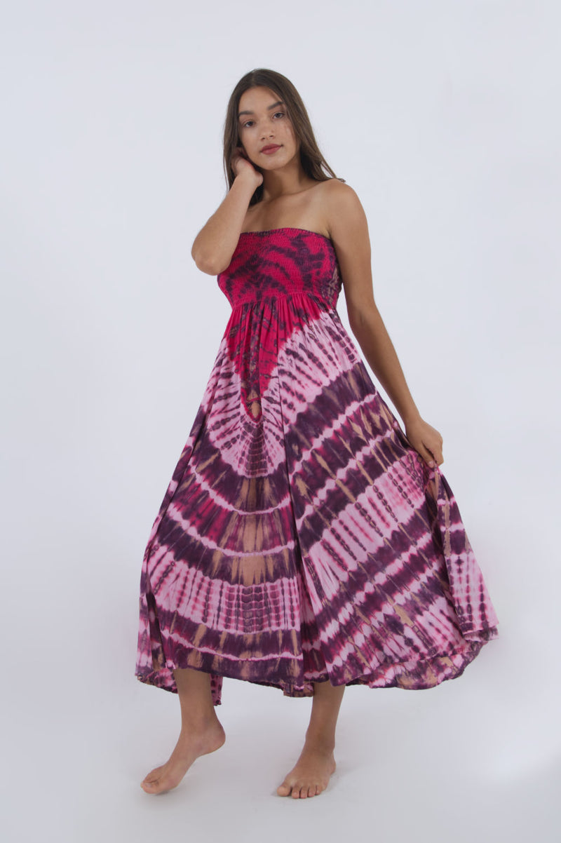 Long summer dress skirt in pink tie dye pattern. Wear it as an off shoulder dress or a flowy maxi skirt.