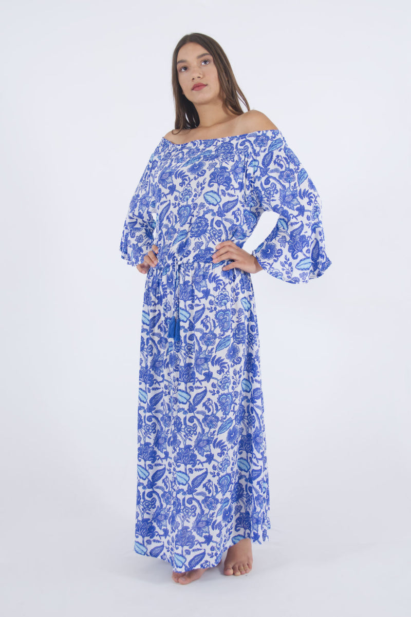 Image of maxi summer dress, with cold shoulders and long flare sleeves.