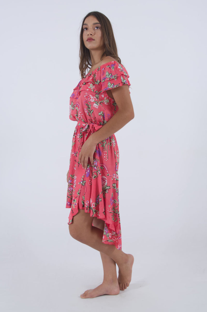 Image of summer midi dress in pink floral with off shoulder ruffle cut.