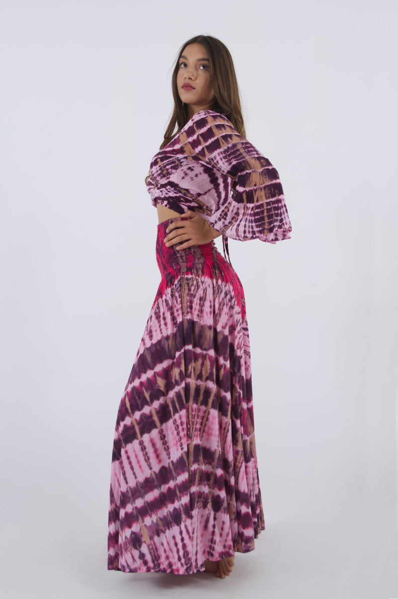 Photo of pink crop top with bell sleeves and summer maxi skirt.