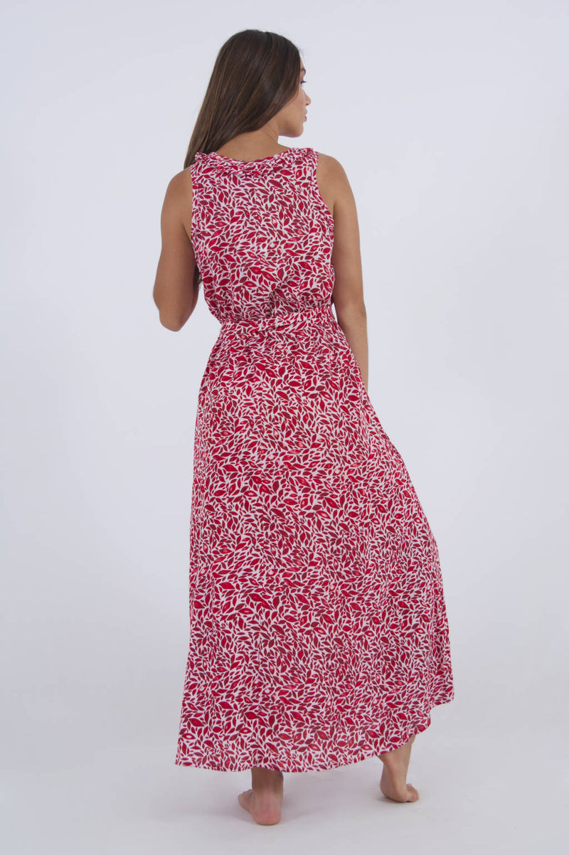 Red travel dress, long and sleeveless with red leaf pattern - back side.