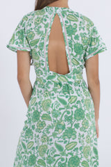 Image showing detail of back cut out from our Palma long floral dress.