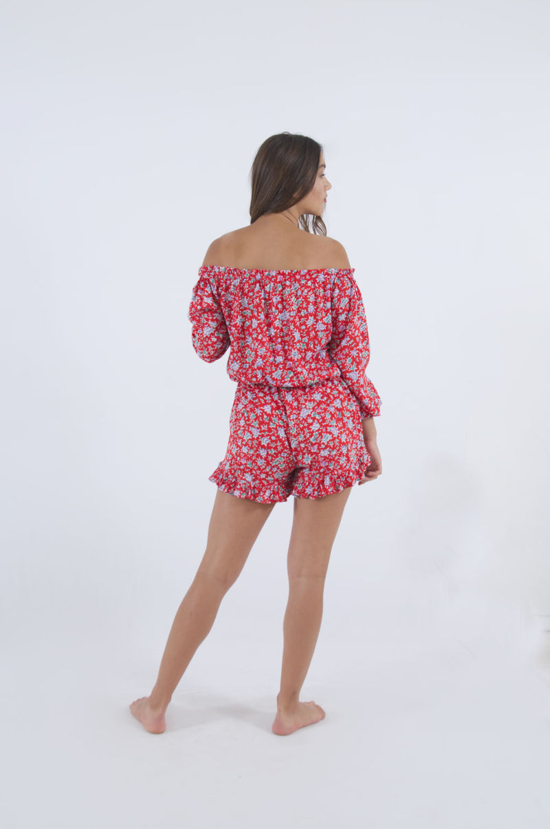 Summer jumpsuit shorts, red flora, with off shoulder neckline and long sleeves.