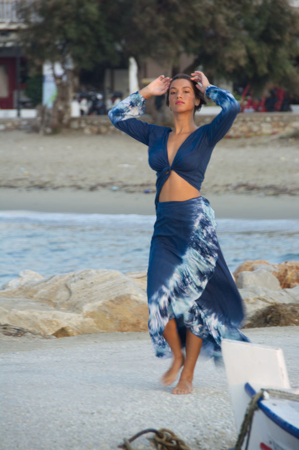 Summer skirt wrap, maxi, in royal blue with tie dye hem.