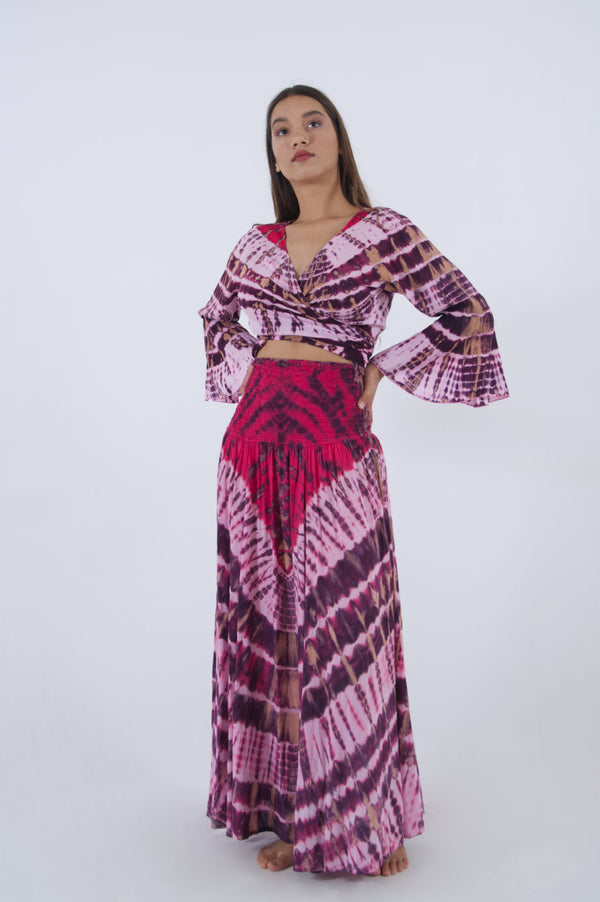 Summer top for women in pink tie dye print with matching long skirt.