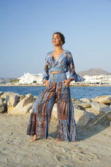 Paola Blue Top Wrap, midriff with bell sleeves