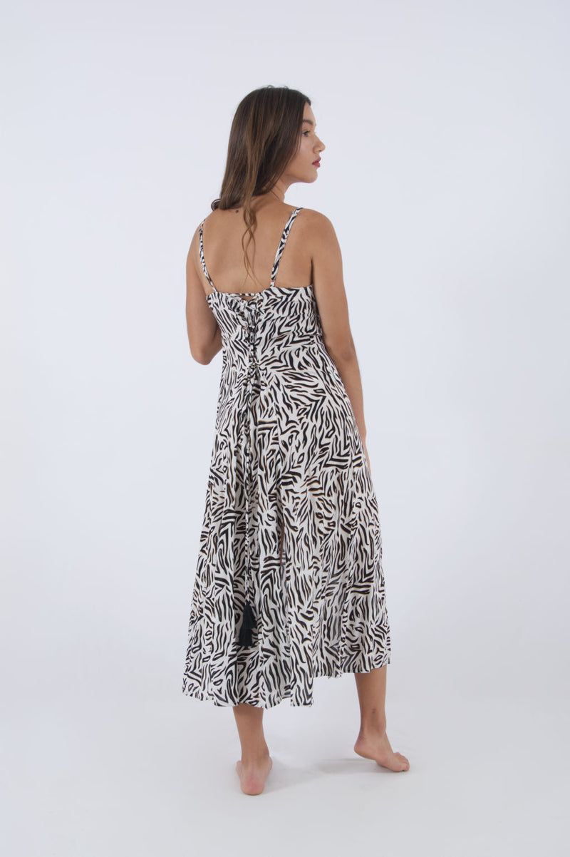 Zebra print dress with spaghetti straps, maxi with adjustable back.