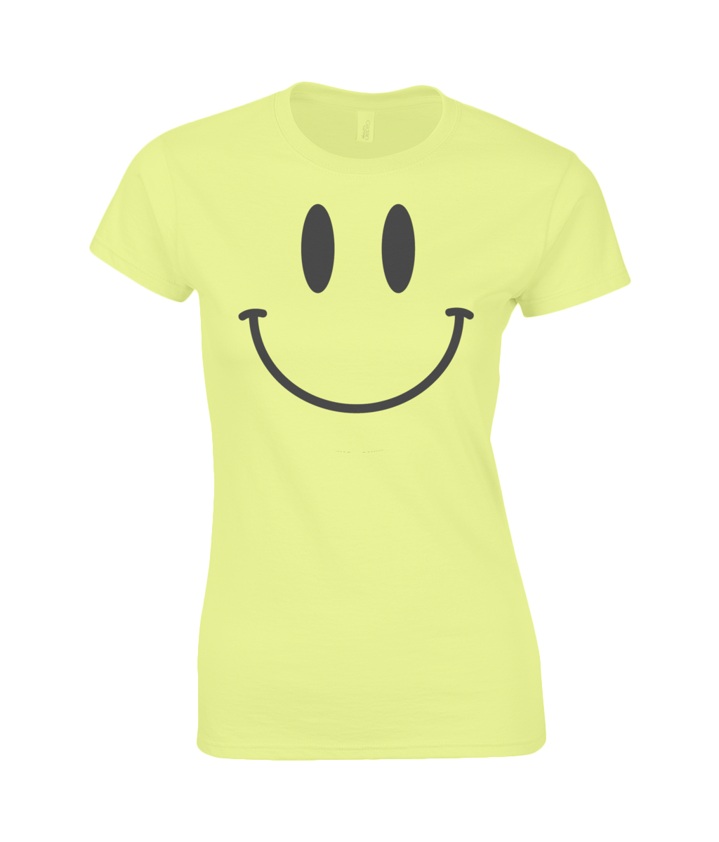 Smiley Face Yellow Ladies Premium Cotton T-Shirt