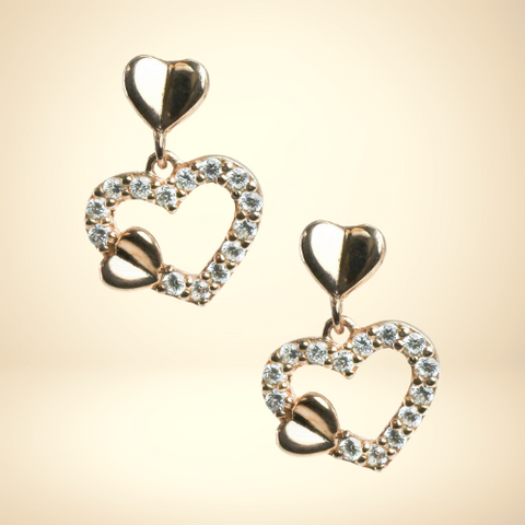 Signity Sterling Silver and Cubic Zirconia Heart Earrings