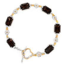 Load image into Gallery viewer, Gems en Vogue Smoky Quartz Sculpted Flower Toggle Bracelet