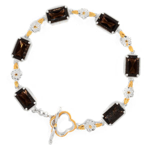 Gems en Vogue Smoky Quartz Sculpted Flower Toggle Bracelet
