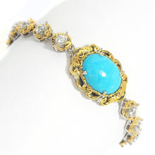 Load image into Gallery viewer, Gems en Vogue Kingman Turquoise & White Zircon Line Bracelet