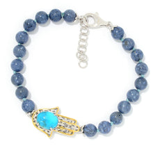 Load image into Gallery viewer, Gems en Vogue Kaolin Turquoise & Blue Coral Beaded Hamsa Bracelet