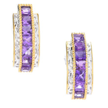 Load image into Gallery viewer, Gems en Vogue Princess Cut Tanzanian Amethyst J-Hoop Earrings