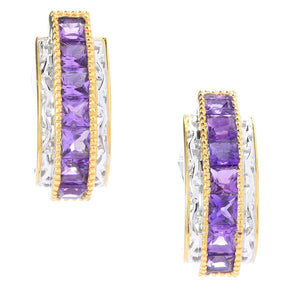 Gems en Vogue Princess Cut Tanzanian Amethyst J-Hoop Earrings