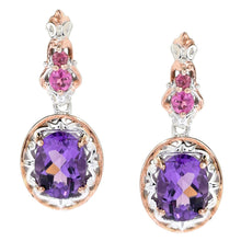 Load image into Gallery viewer, Gems en Vogue 3.52ctw Namibian Amethyst & Pink Tourmaline Drop Earrings