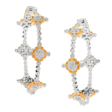 Load image into Gallery viewer, Gems en Vogue 0.26ctw Diamond Cluster Station Hoop Earrings