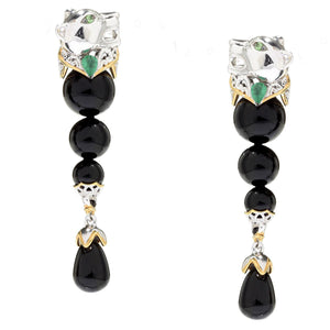 Gems en Vogue Black Onyx, Zambian Emerald & Tsavorite Panther Drop Earrings