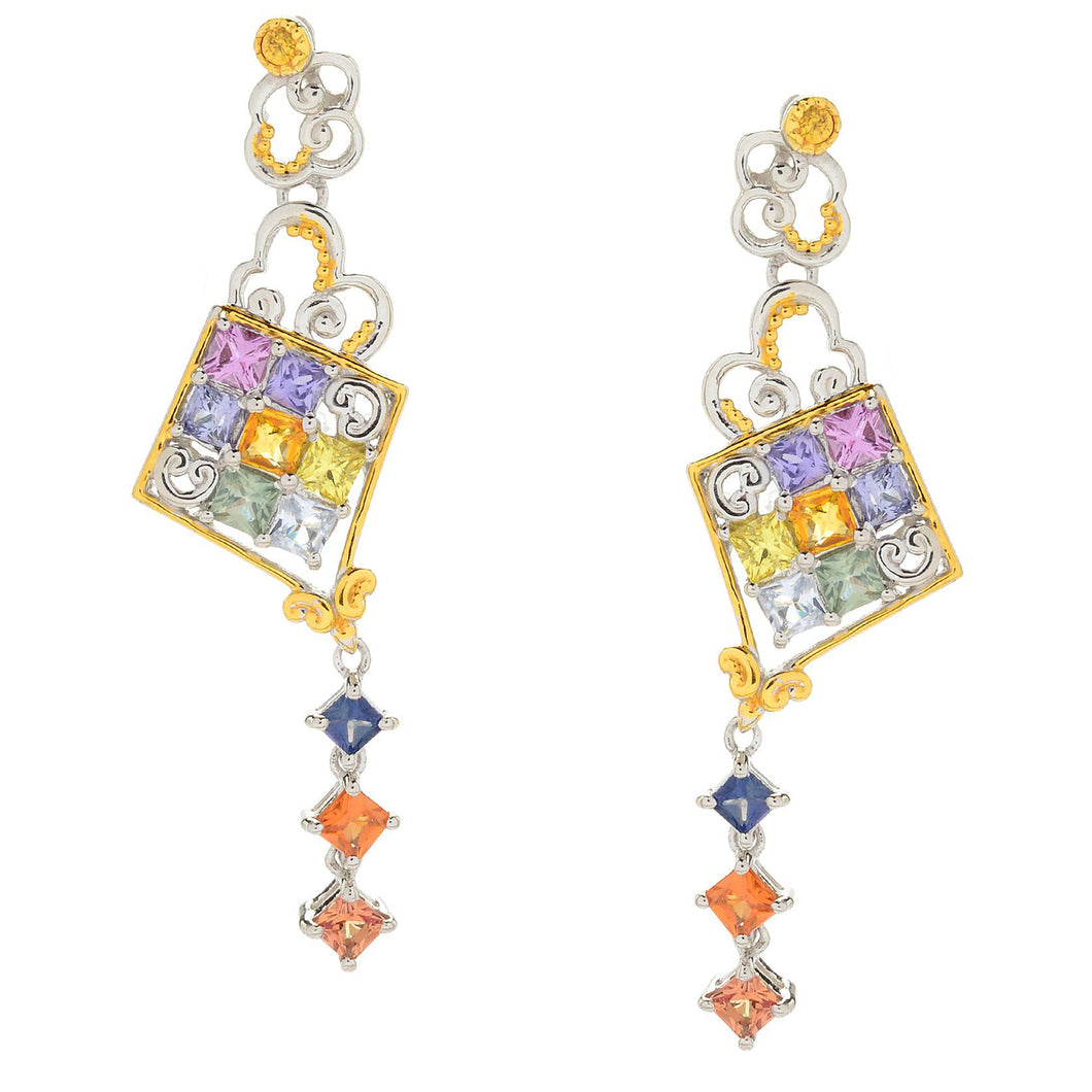 Gems en Vogue Princess Cut Multi Sapphire Kite Drop Earrings