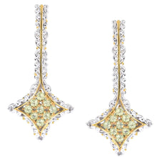 Load image into Gallery viewer, Gems en Vogue 0.90ctw Peridot 9-Stone Cluster Drop Earrings