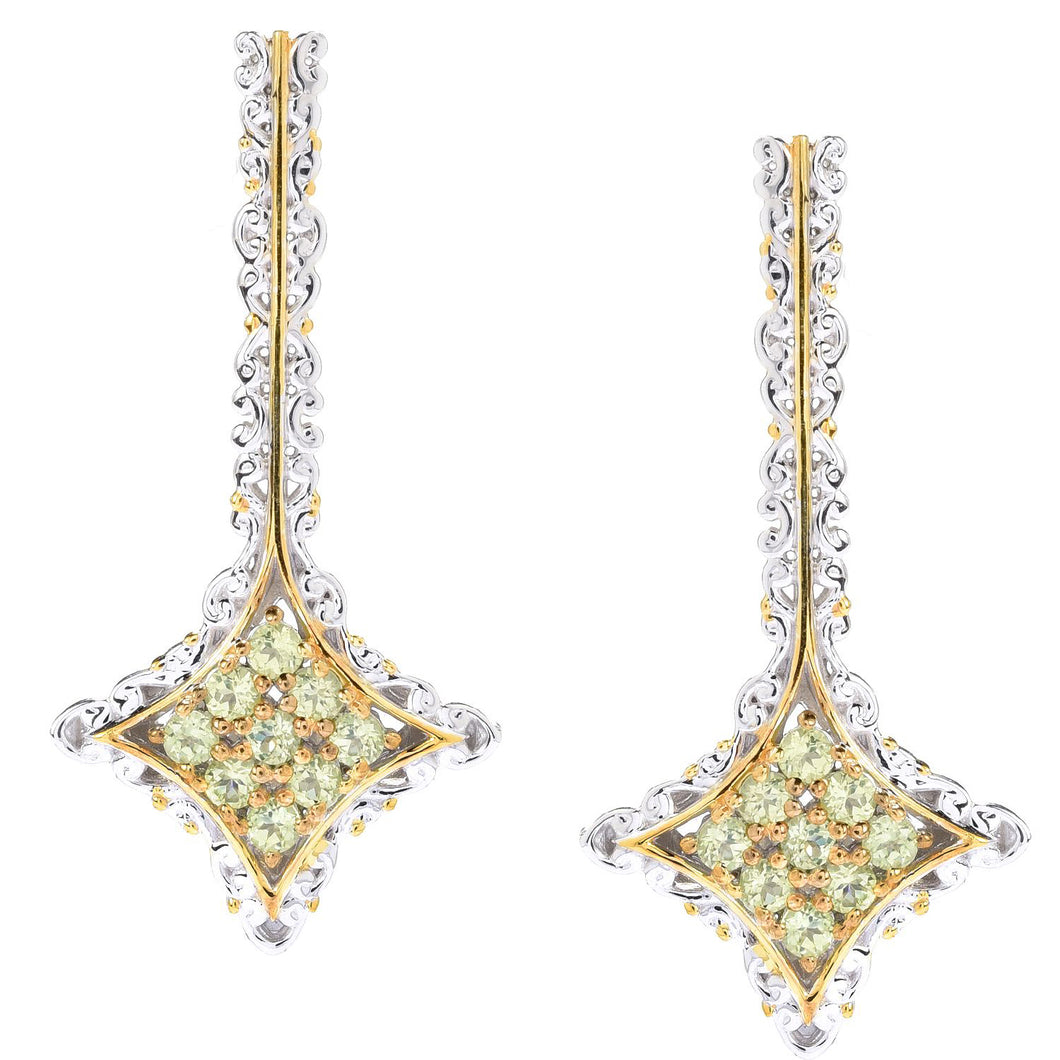 Gems en Vogue 0.90ctw Peridot 9-Stone Cluster Drop Earrings