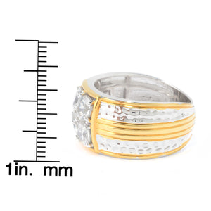Gems en Vogue 2.69ctw White Zircon Hammered Band Men's Ring