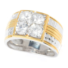Load image into Gallery viewer, Gems en Vogue 2.69ctw White Zircon Hammered Band Men's Ring
