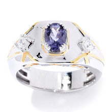 Load image into Gallery viewer, Gems en Vogue 1.01ctw Oval Cut Blue Amethyst & White Zircon Band Men's Ring