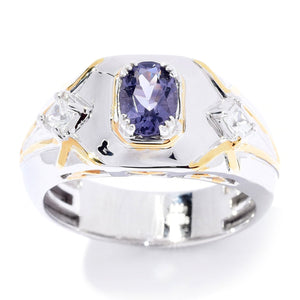 Gems en Vogue 1.01ctw Oval Cut Blue Amethyst & White Zircon Band Men's Ring