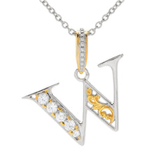 Load image into Gallery viewer, Gems en Vogue White Zircon 5-Stone Initial Pendant - W