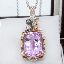 Load image into Gallery viewer, Gems en Vogue 13.05ctw Kunzite & White Zircon Panther Pendant