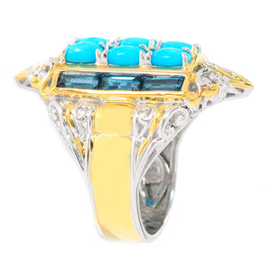 Gems en Vogue Sleeping Beauty Turquoise & London Blue Topaz Elongated Ring