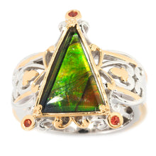 Load image into Gallery viewer, Gems en Vogue Ammolite Triplet & Orange Sapphire Triangle Ring