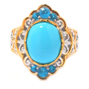Gems en Vogue Sleeping Beauty Turquoise & Neon Apatite Ring