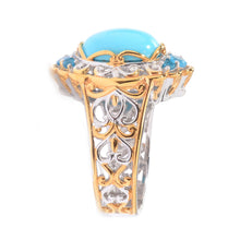 Load image into Gallery viewer, Gems en Vogue Sleeping Beauty Turquoise & Neon Apatite Ring