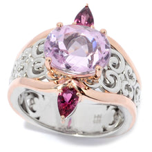 Load image into Gallery viewer, Gems en Vogue 3.96ctw Kunzite & Pink Tourmaline Scrollwork Ring