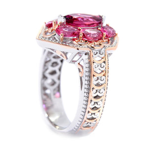 Gems en Vogue 2.35ctw Multi Shape Pink Tourmaline Hexagon Ring