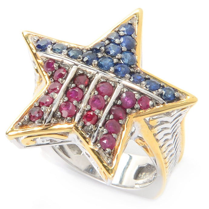 Gems en Vogue 1.49ctw Ruby & Sapphire United States Star Ring