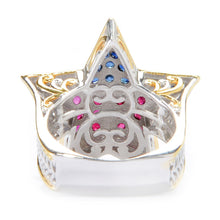 Load image into Gallery viewer, Gems en Vogue 1.49ctw Ruby & Sapphire United States Star Ring