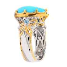 Load image into Gallery viewer, Gems en Vogue Kingman Turquoise & Swiss Blue Topaz Teardrop Ring