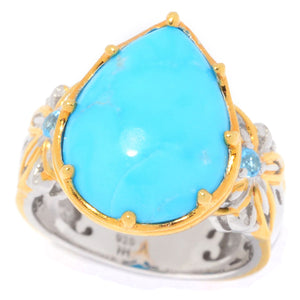 Gems en Vogue Kingman Turquoise & Swiss Blue Topaz Teardrop Ring