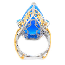 Load image into Gallery viewer, Gems en Vogue Chalcedony & Swiss Blue Topaz Elongated Ring