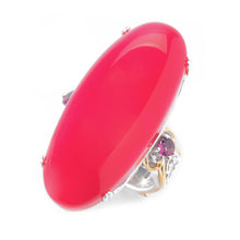 Load image into Gallery viewer, Gems en Vogue Raspberry Chalcedony & Rhodolite Elongated Ring