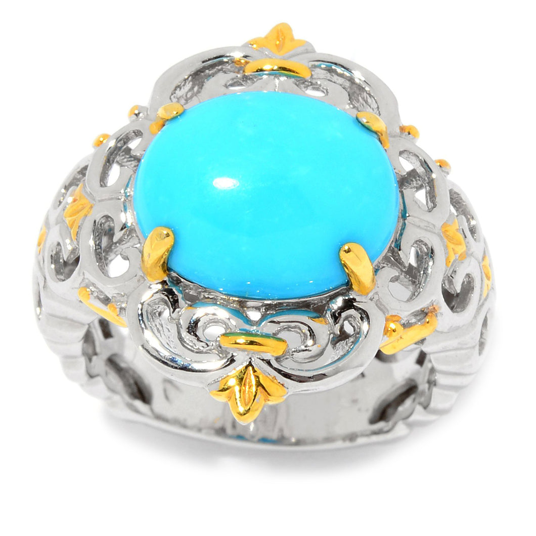 Gems en Vogue Oval Kingman Turquoise Scrollwork Ring