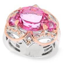 Load image into Gallery viewer, Gems en Vogue 5.68ctw Pink Topaz 3-Stone Quatrefoil Ring