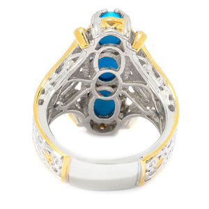 Gems en Vogue Sleeping Beauty Turquoise Three-Stone Elongated Ring