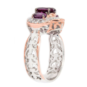 Gems en Vogue 2.17ctw Color Change Purple Garnet & White Zircon Ring