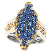 Load image into Gallery viewer, Gems en Vogue 1.48ctw Nigerian Mabira Blue Sapphire Cluster Ring .