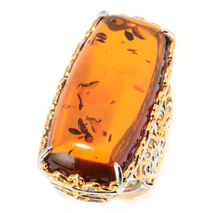Gems en Vogue Cushion Shaped Amber Elongated Ring