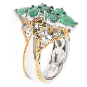 Gems en Vogue 1.97ctw Belmont Emerald Marquise Shaped Cluster Ring